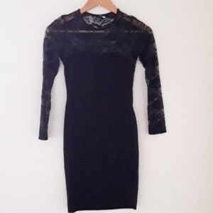 H&M LONG SLEEVE BLACK DRESS WITH LACE